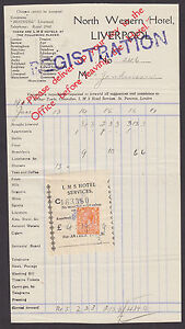 Great Britain Sc 238 used as Fiscal on 1928 Hotel Registration & Bill