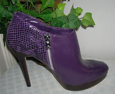 Michael Kors York Purple Leather Booties/Heels Shoes Womens Shoes Size 7