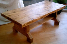 New Large Hand Made Rustic Coffee Table with Shelf - Solid Wood