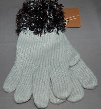 Fownes Ladies Quality Knit Gray Gloves with Soft Fuzzy Black Cuffs New OSFM