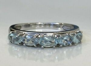 10CT solid gold & Topaz  band ring 2.25g size P 1/2 -  7 3/4