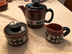 5 pc Tea Set from Lima, Peru with Fish Teapot, Sugar Bowl, Creamer -- EXC