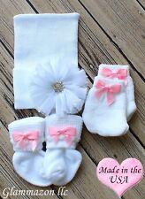 Newborn baby girl socks mittens big bow beanie hat hospital baby gift 3 set