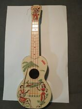 Vintage Carnival Ukulele. Hawaiian Surfer and Hula Girl Uke. Hawaii Aloha pin-up