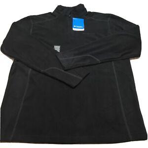 Columbia Men's Medium Pine Ridge 1/4 Zip Fleece Sweat Shirt Black Pullover Thin