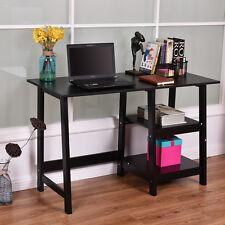 Black Modern Trestle Desk Laptop Writing Working Table Shelves Computer Desk New