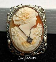 Antique Victorian Carved Cameo Filigree MK 14k white gold Diamond Brooch Pendant