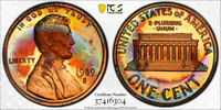 1989-S Lincoln Memorial Cent Penny 1c PCGS PR66 RB  AWESOME RARE RAINBOW TONING