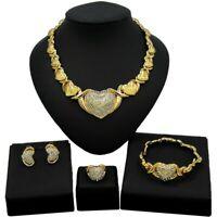 Women Hugs & Kisses Xo Necklace Ring Bracelet & Earrings set 18k Gold Plated #22