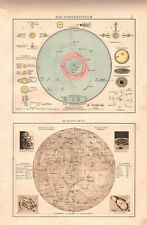 Antique map. MOON MAP. SOLAR SUN SYSTEM. c 1899