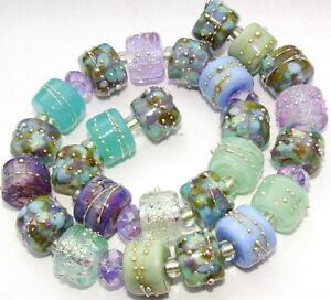 "Sistersbeads ""D""-Morning Heather"" Handmade Lampwork Beads"