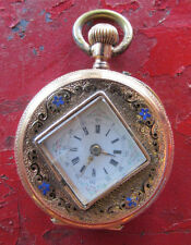 18k Gold Cylindre Remontoir 10 Rubis Geneva Pocket Watch 4/0s 1800s? Ornate 24g