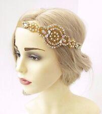 Gold AB Diamante Headband Headpiece Vintage 1920s Great Gatsby Flapper Hair 3488