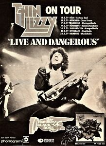 Thin Lizzy Concert Poster Live And Dangerous German Tour Dates