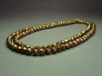 Vintage Czech Bohemian Bronze-Tone Faceted Glass Bed Necklace