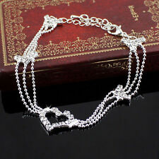 Women Charm Silver Plated Bead Anklet Ankle Bracelet Chain Crystal Jewelry Gift