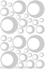 32 SATIN SILVER CIRCLE CIRCLE BUBBLE LOOK BEDROOM WALL DECAL STICKER VINYL GIRL