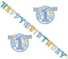 Girlande Banner zum 1. Geburtstag Aufschrift HAPPY BIRTHDAY Jungen Länge 119cm