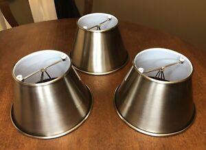 """(3) Industrial Look Metal Clip-On Lamp Shades Brushed Gunmetal White Enamel 6"""""""