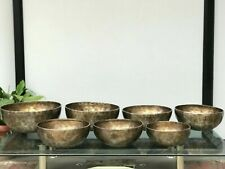 Full Moon Singing Bowl Set of 7- Seven Chakra Healing Set- 9 Metals Bowls- yoga