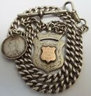 LOVELY HEAVY ANTIQUE 1902 SOLID SILVER ALBERT WATCH CHAIN WTH IRISH SILVER MEDAL