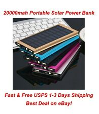Lit Solar Power Bank Camping Travel Flashlight Tablet Phone Charger Dual USB LED