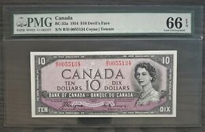 1954 $10 Dollar Bank of Canada Coyne Towers Devil's Face GEM Uncirculated