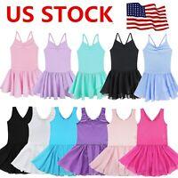 US Kids Girls Ballet Dance Dress Gym Ballerina Leotard Skirt Dancewear Costume