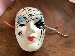 Vintage Venetian Style Ceramic Wall Hanging Mask Theatre Pierrot Face Mask