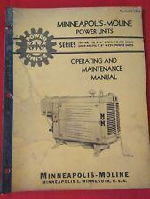 Minneapolis-Moline Power Unit 4 cycle Operating Manual Vintage Original S-122A
