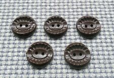 6 Brown 18mm Vintage Buttons Jumper Cardigan Clothing Crafts 2 Hole 1970s