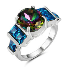 Size 8 Silver plated Rainbow Sapphire Wedding Engagement Bridal Ring Anniversary