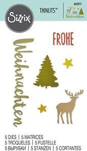 Sizzix Thinlits 5 Stanzschablonen Frohe Weihnachten Sterne Tannenbaum Rentier