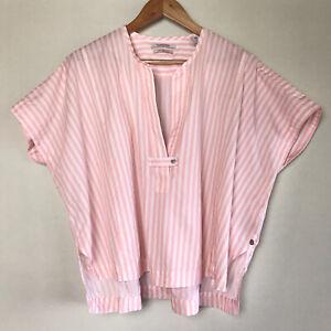 Scotch And Soda Wide Boxy Pink Stripe Shirt Size M Short Sleeve 100% Cotton Top