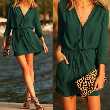 Sexy Women Casual Chiffon Long Sleeve Evening Cocktail Party Beach Mini Dress