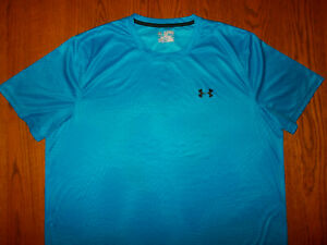 UNDER ARMOUR HEAT GEAR SHORT SLEEVE BLUE LOOSE FIT TOP MENS 2XL EXCELLENT COND.