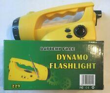 Dynamo Emergency Radio, Self-Powered FM Radio with Flashlight Hand Crank Yellow