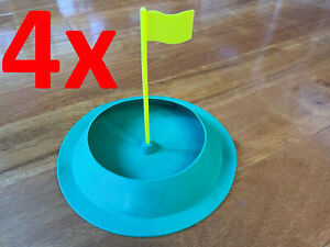 4x JOSAN All Direction Golf Rubber Putting Cups w/ Flag Indoor Training Aid Hole