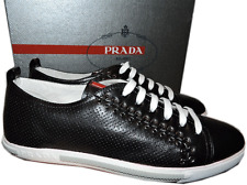 Prada Sport Black Perforated Leather Lace Up Sneaker Flat Shoe 38 - 8 New