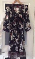 Size UK  14 Dress Brown Floral Sheer Floaty BNWOT Women's  DESIGNER  LONG TOP