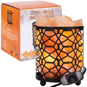 100% Natural Himalayan Salt Lamp Aztec Metal Basket with Himalayan Salt Chunks