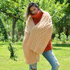 Hand Knitted Wool Scarf Cable Soft Peach Sweater Shawl Wrap by EXTRAVAGANTZA
