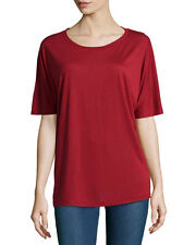 NWT- Vince Short Dolman-Sleeve Rayon-Jersey Tee, Claret Red - Size Small
