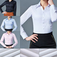 Ladies Long Sleeve Blouse Shirt Business Work Wear Formal Smart Suit Casual