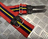"""Genuine British Army Red With Blue Yellow Stripes Double Buckle Stable Belt 38"""""""