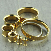 Gold Screw Stainless Steel Ear Gauges Flesh Tunnels Plugs Stretchers Expander