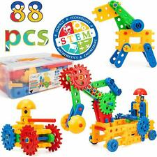 Engineering Blocks For Kids 15 Shapes Colorful Gears Building Set of 88 STEM