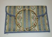 VINTAGE FOLD-OVER PURSE HANDBAG Tapestry Material Gold Accent, Zippered Blue
