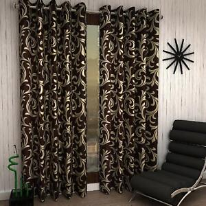 2 Piece Floral Eyelet Ringtop Door Curtains Set 7 Feet H11