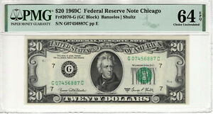 1969 C $20 FEDERAL RESERVE NOTE CHICAGO FR.2070-G GC BLOCK PMG CHOICE UNC 64 EPQ